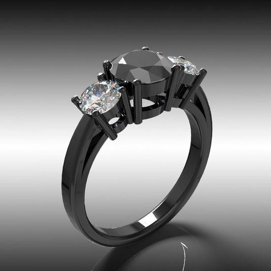 14k Black Gold Engagement  Ring, Diamond Ring , Black Diamond Ring, Wedding Ring, Wedding Band, 3 Stone Ring, Anniversary Ring. $1,495.00, via Etsy.