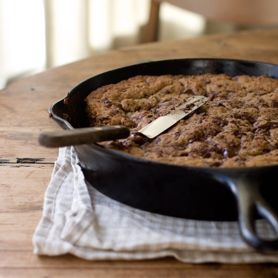 Choc Chip cookie in a skillet  YUM