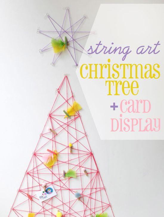 String art Christmas tree card display