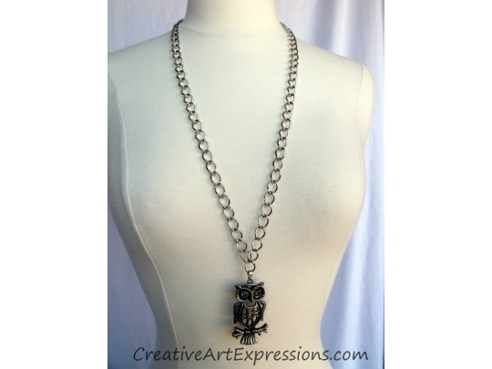 Creative Art Expressions Handmade Silver Owl Necklace Jewelry Design  Gifted