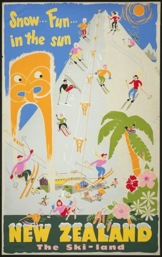 Snow... Fun... in the sun New Zealand #travel #poster 1960s