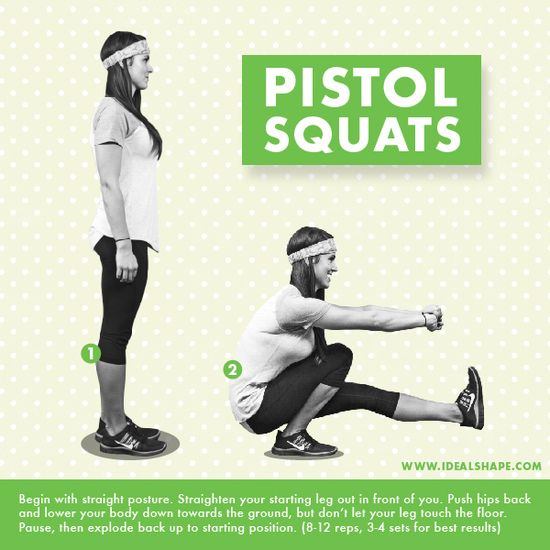 Pistol Squats work wonders on your quads and butt! #idealshape #shape4life #workout #exercise #getfit #squats