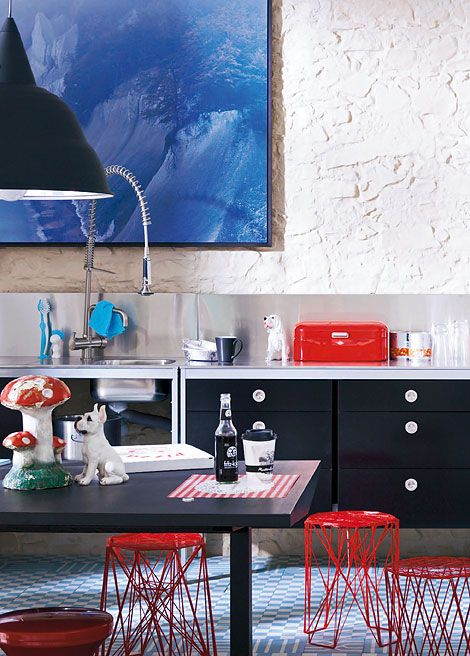 Black and White Kitchen with red kitchen