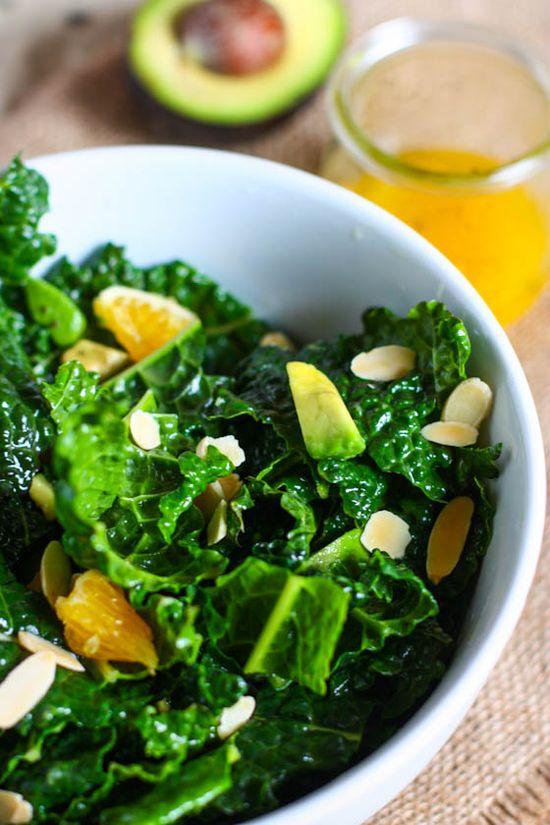 Kale Salad with Avocado, Almonds and Oranges (Detox Salad)