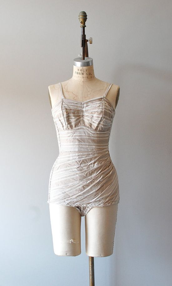 1950s Ticking Stripe cotton swimsuit