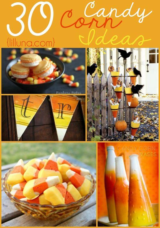 30 Candy Corn Ideas - from recipes to decor! ALL super fun and festive!! { lilluna.com }