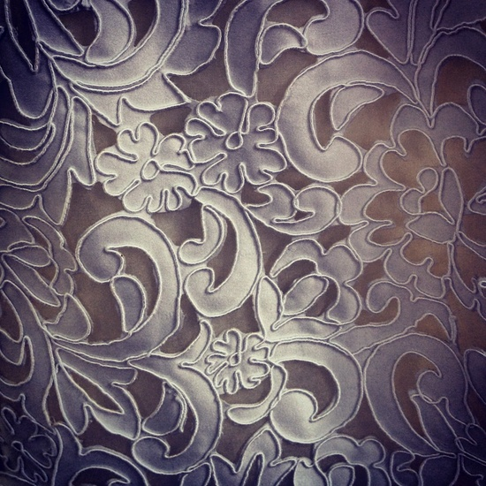 New from Elizabeth Fillmore: Matte satin laser-cut to look like lace