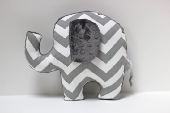 Chevron Elephant nursery pillow toy ELLE gray plush by LilKingdom. $24.00 USD, via Etsy.