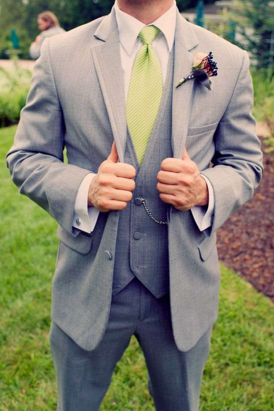 We are thinking of having Curt where a gray suit/tux and vest with white shirt and a light turquoise tie. The groomsmen would wear gray pants, white shirt and same tie as Curt.