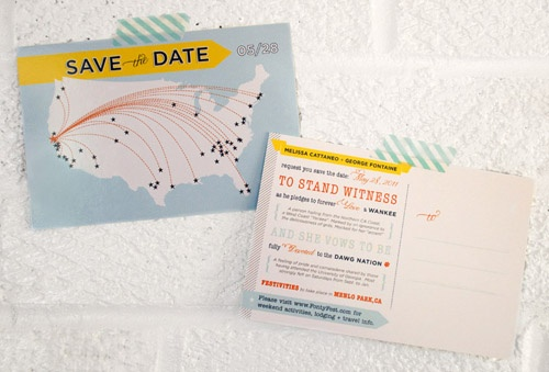 wedding invites. throw in a map.