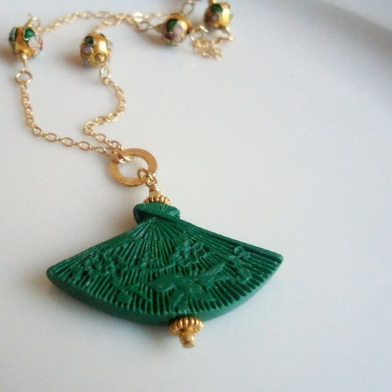 Green Necklace Yellow Chinese Cinnibar by jewelrybycarmal on Etsy, $35.00