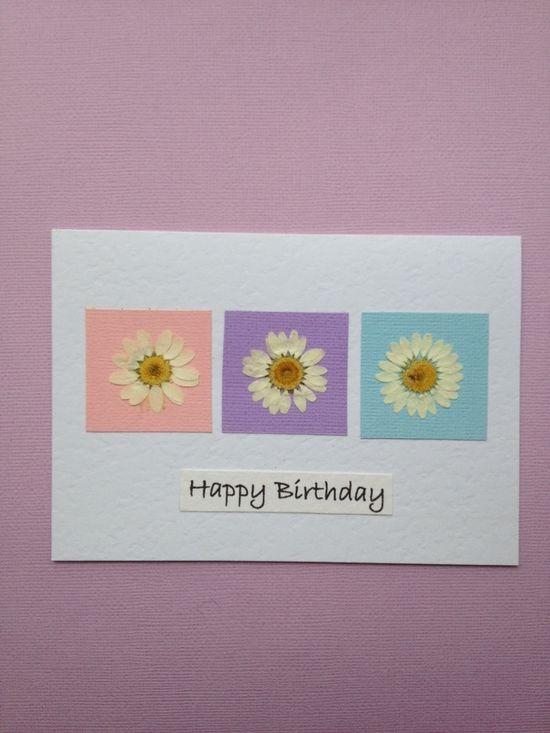 Handmade Birthday Card Pressed Daisy Flowers on Pastels £3.50