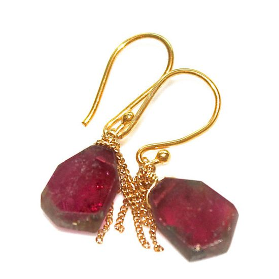 Watermelon Tourmaline Slice Earrings Gold Tassel by FizzCandy #tourmaline #watermelon #jewelry #earrings #fizzcandy #fashion