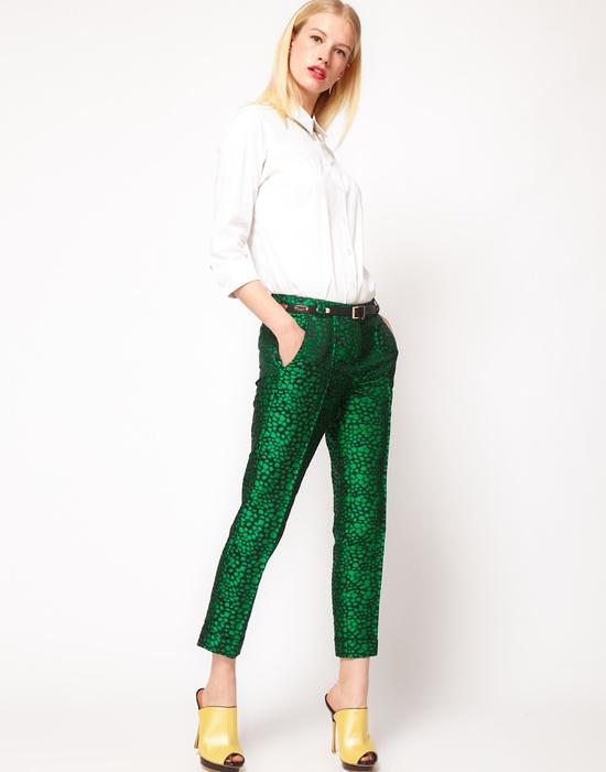 fall uniform: brocade pants, slouchy sweater + booties.