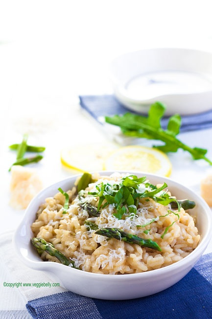 Asparagus and Lemon Risotto with Arugula Recipe, from Veggie Belly