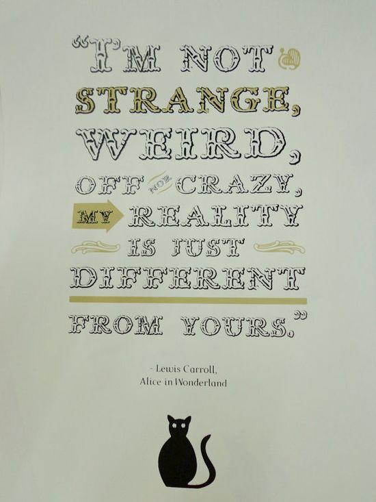 Alice in Wonderland Quote Poster handpulled screen by HOCUSMANILA, $20.00