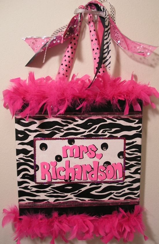 Handpainted, Personalized Canvas Wall Art (12x12 Black and Fuschia example). $40.00, via Etsy.- Want this for my room but with Purple instead of pink. I love purple and zebra print.