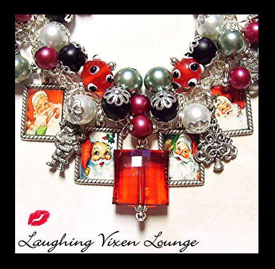 Christmas Jewelry - Christmas Bracelet - Retro Santa Christmas Charm Bracelet - Santa Jewelry - Santa Bracelet - Holiday Jewelry Bracelet on Etsy, $50.00