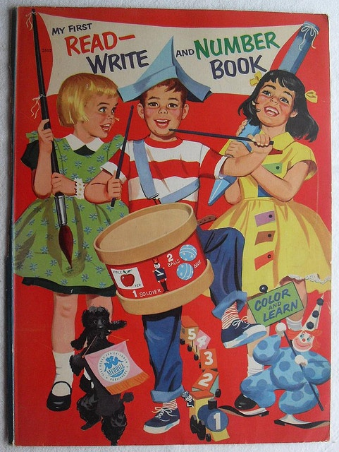 1960s MY FIRST COLORING BOOK vintage illustration cover MERRILL COMPANY