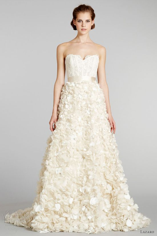 lazaro fall 2012 lace top floral skirt wedding dress