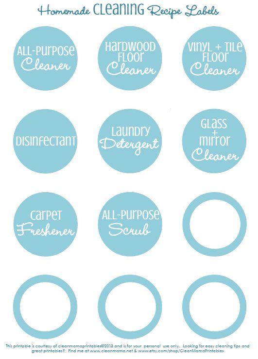 Homemade Cleaning Recipe Labels - Clean Mama