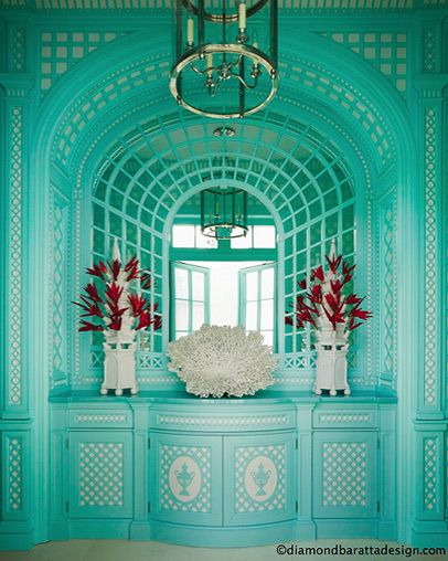 Gorgeous turquoise feature wall.