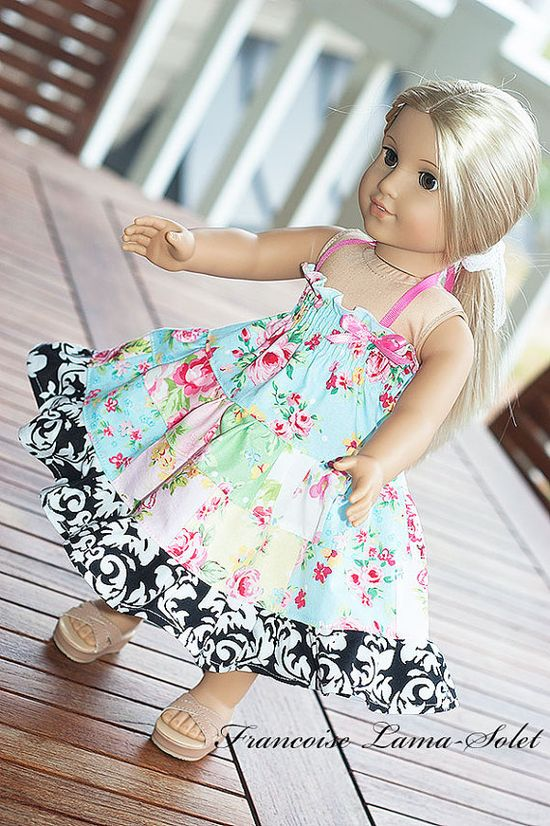 "American Girl Doll Clothes Patchwork Twirl dress 18"" doll. $22.00, via Etsy."