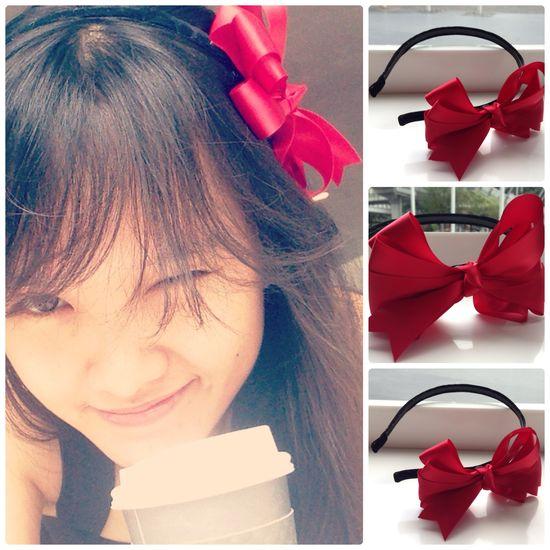 Hand-made bows from my sister :) #bow #handmade #hair #headband