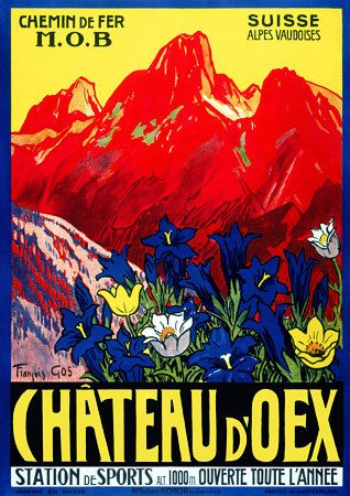 Chateau d'Oex by Gos 1934 Vintage Swiss Travel Poster