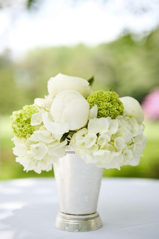 flowers in mint julep cups.