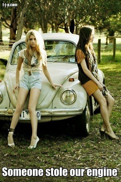 Funny Blonde Car Breakdown Picture