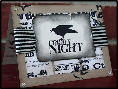 Black and white rule the night on this Fright Night crow handmade Halloween card