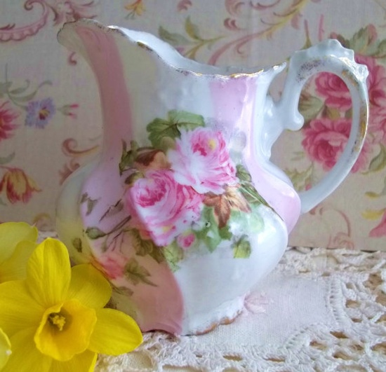 Pink Rose Shabby Chic Antique Pitcher Vase