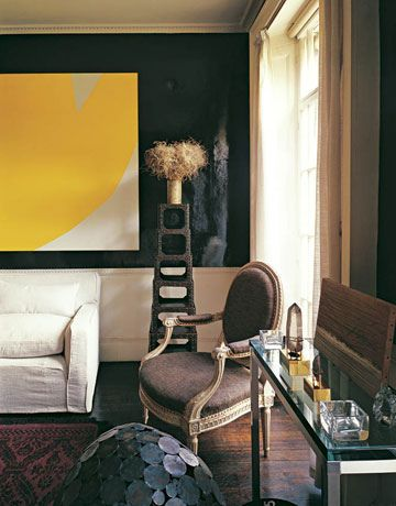 Go Dark & Dramatic. David Hicks's 1960's Chelsea Living Room. Lacquered Coca-Cola-colored walls with bright white woodwork and ceilings.