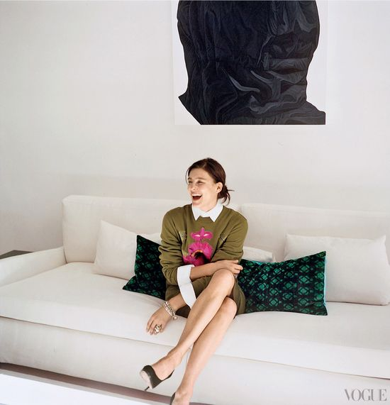 Vogue February 2012: High Living: Tabitha Simmons  in her living room, surrounded by Yastik cushions, below a Karel Funk acrylic on panel.