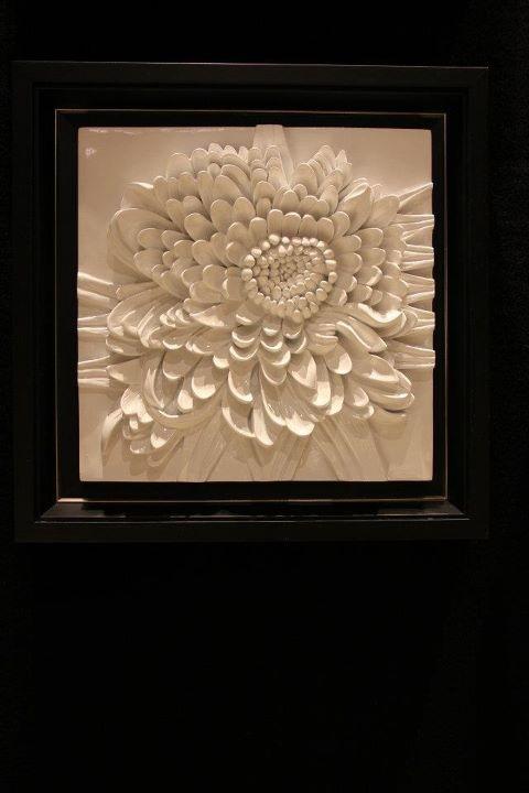 Cool 3D tile! Custom framed like the work of art it is.