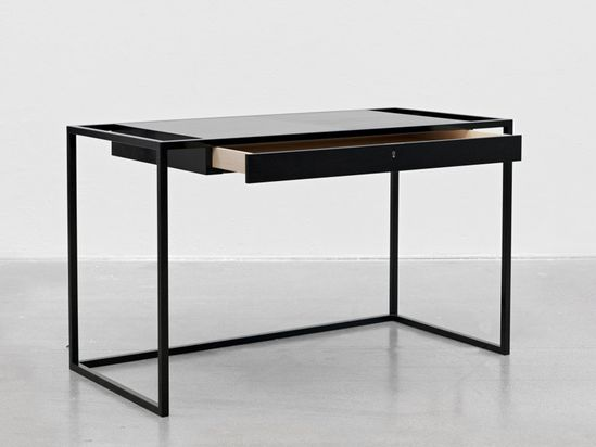 'verk'  750 H x 1250 W x 60D cm (295 H x 492 W x 23 D inches)    a drawer is elongated, creating 'verk', a desk which puts the moving element in focus, as it is lifted and framed  by lacquered steel legs proportionally too thin for the large volume. it is through this design that the drawer becomes the desk.  www.snickeriet.com/