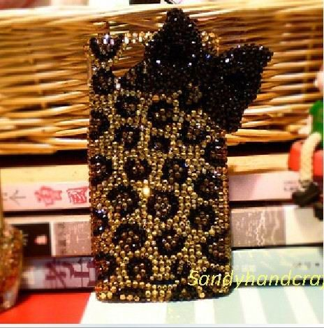 iPhone 5 Case Bling iPhone Skin Black bow leopard print iPhone 4 Case, iPhone 4s Case,
