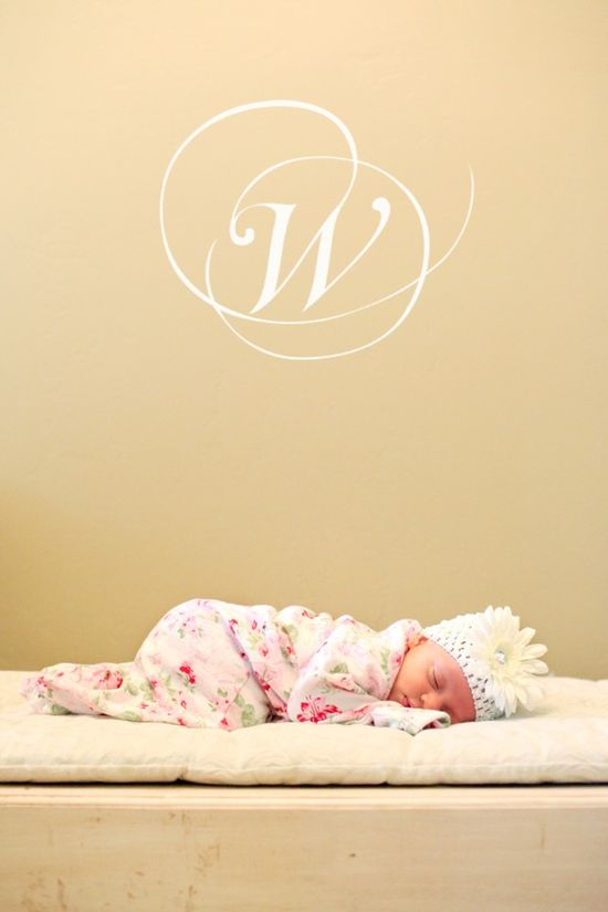 love the initial in the newborn photo