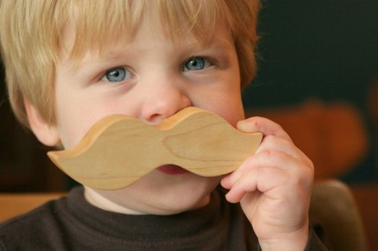 Wooden Moustache Teething Toy, Etsy littlealouette, $12