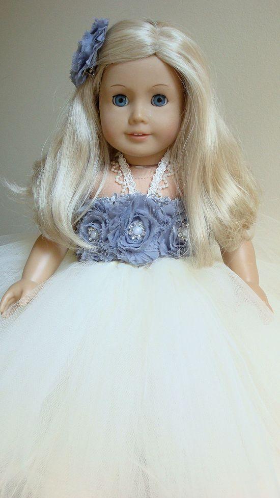American girl doll dress, doll tutu dress, Ivory, silver, Wedding, doll tutu, flower girl. $23.00, via Etsy.