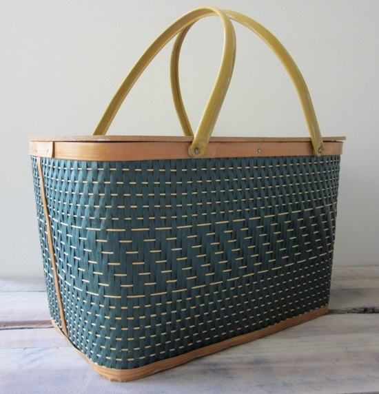 1960s Green and Tan Wicker Picnic Basket with Wood Lid and Metal Handles