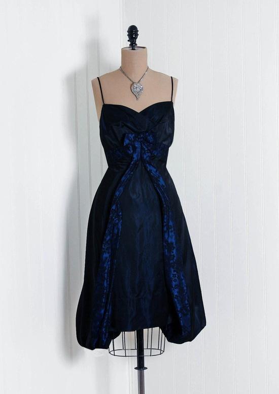 1950's sexy silk taffeta cocktail dress