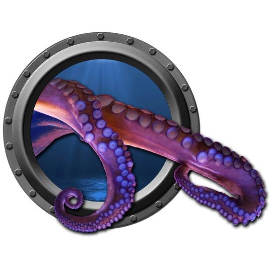 Break Through Octopus Tentacle Porthole Wall Decal. 20.00, via Etsy.
