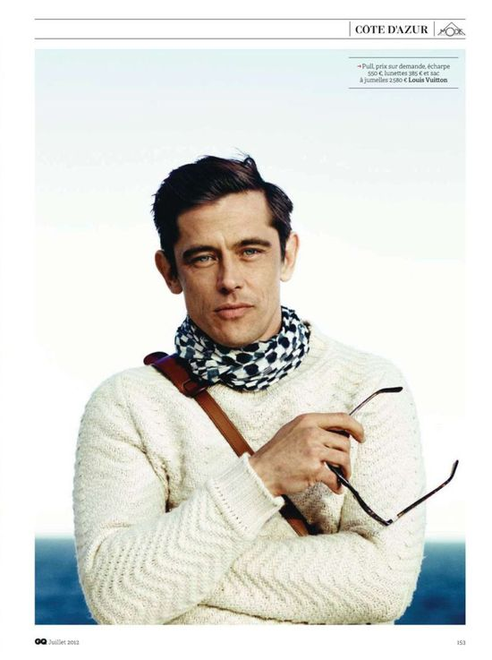 scarf....Werner Schreyer Visits the French Riviera in GQ France's July 2012Issue