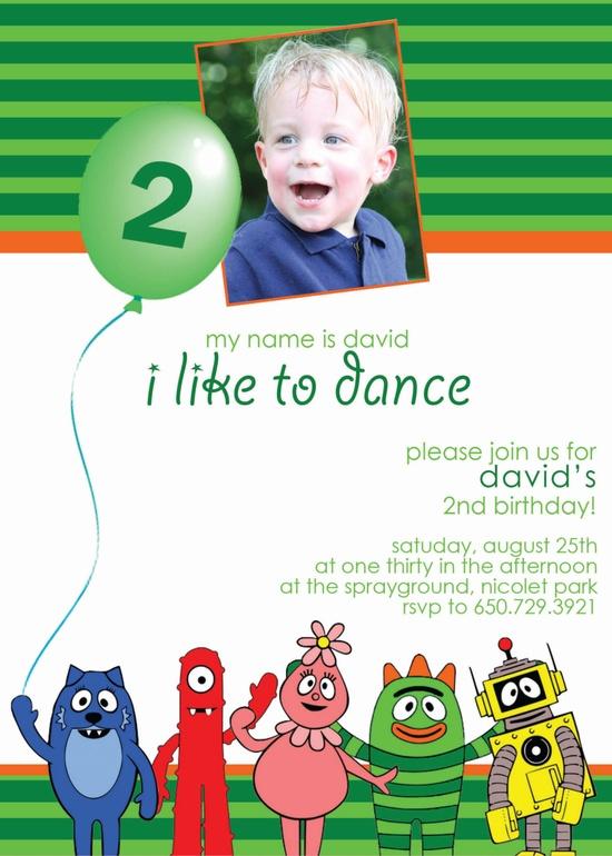 Yo Gabba Gabba Custom Boys Birthday Invitation