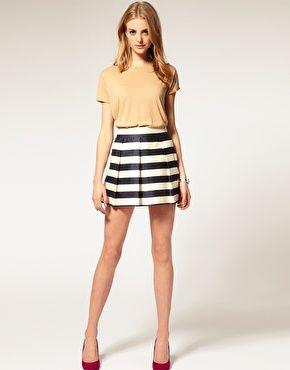 ASOS Stripe Full Woven Skirt