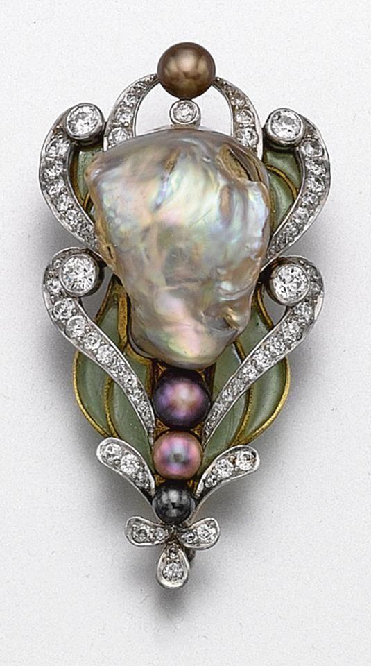 Baroque Pearl, Plique-a-Jour Enamel & Diamond Brooch ~ Marcus ~ 1900