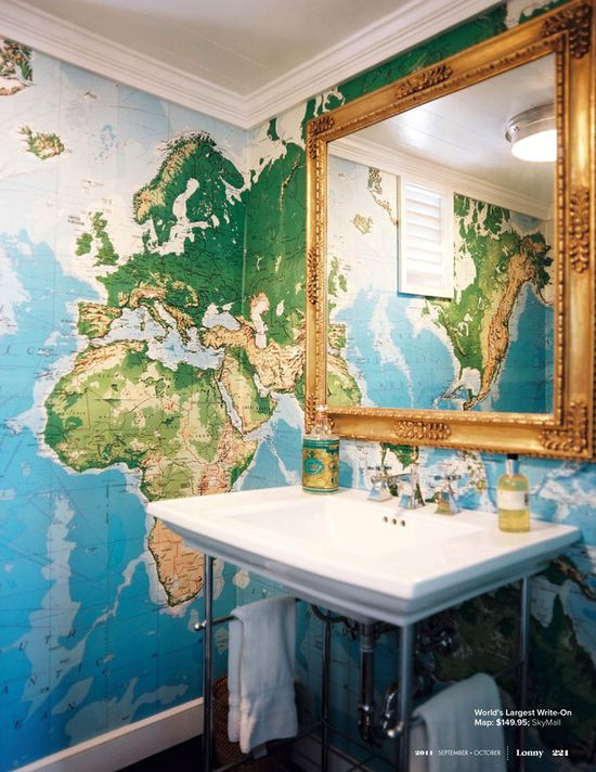 I want a giant map room for a bathroom!