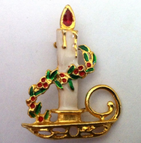 Vintage Christmas Brooch Enamel accents by StrawberrieSoup on Etsy